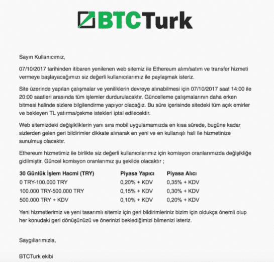 BTCTurk Ethereum Açıklaması