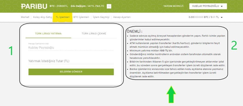 Paribu TL İşlemleri Sayfası
