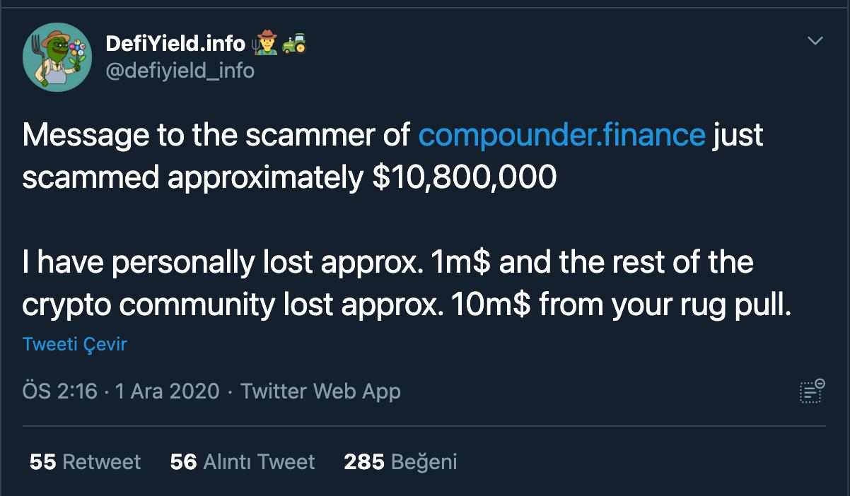 defiyieldinfo-kripto-para-compounder-scam-tweet