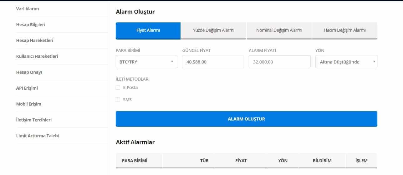 BtcTurk Alarm
