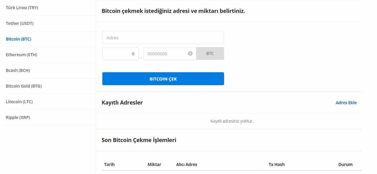 BtcTurk bitcoin Çekme İşlemi
